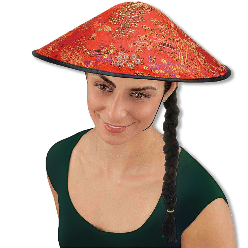 Coolie Hat: Chinese Hat With Attached Braid