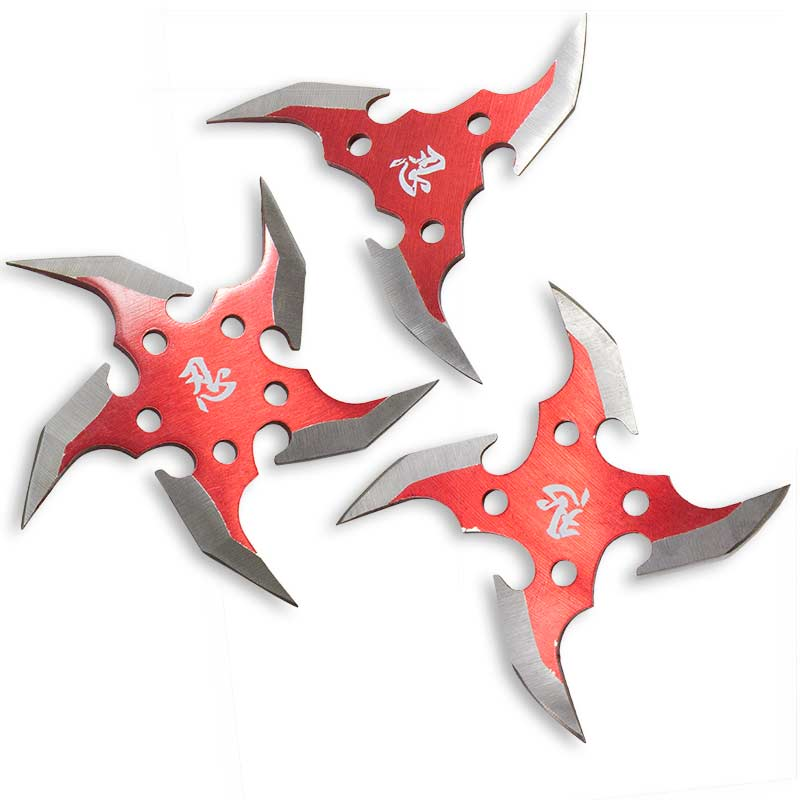 Futuristic Red Throwing Stars