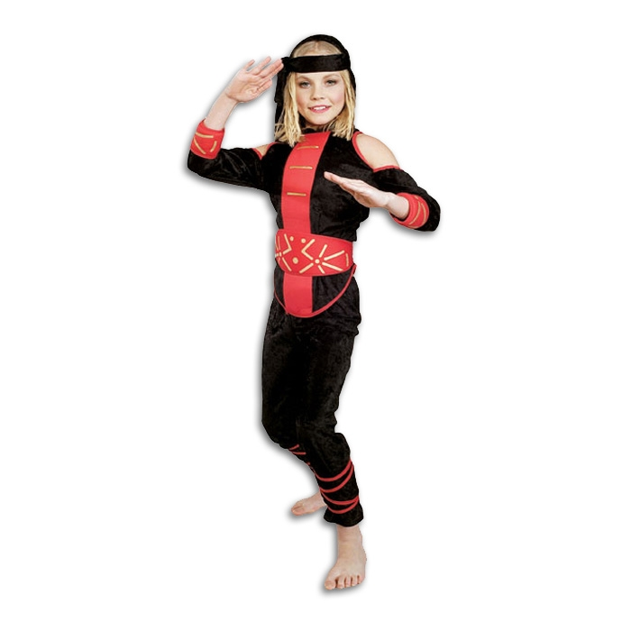 Girls Velvet Ninja Costume - Tween Girl Ninjas Outfit - Halloween Assassin Girl