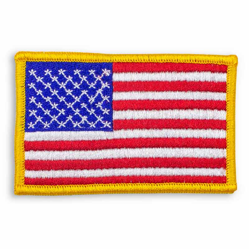 Gold Trim American Flag Patch