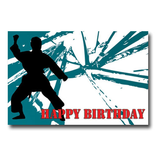Happy Birthday Karate Block Postcard