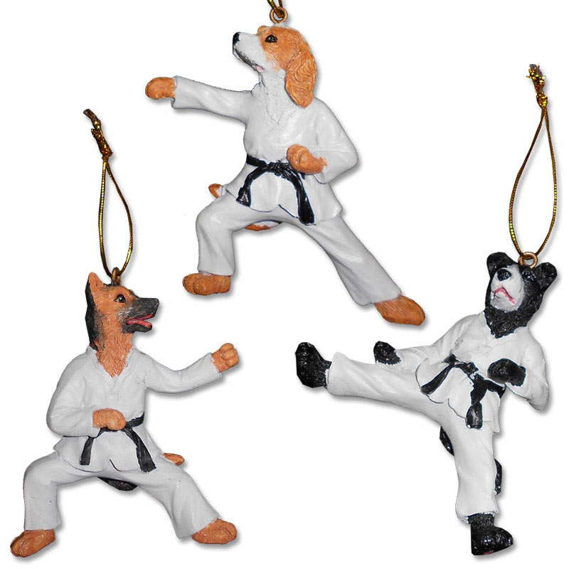 karate dog ornaments martial arts dog ornament taekwondo dog