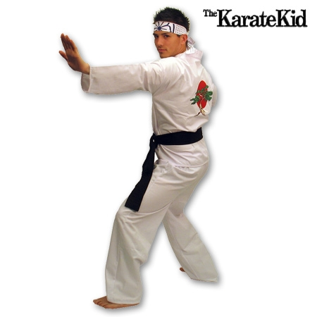 Adult Karate Kid Daniel Halloween Costume Pants Miyagi Dojo Karate Gi Logo Back