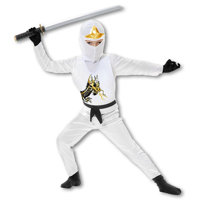 Toddlers White Ninja Costume (2-4 Years)  sc 1 st  KarateMart & Kids White Ninja Avenger Costume - Childs White Dragon Costumes ...