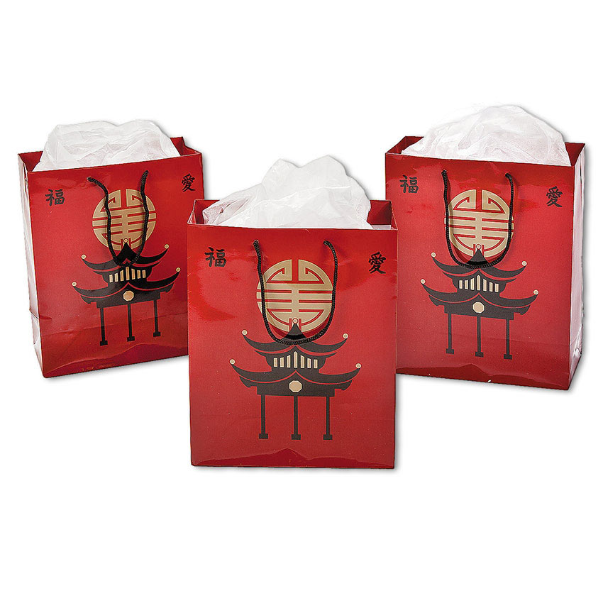 Medium sized asian gift bags oriental party favor bag for Japanese inspired gifts
