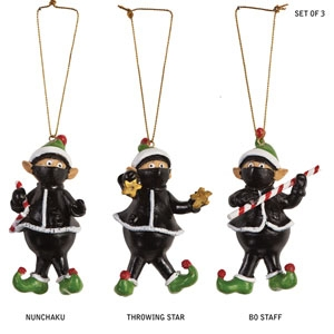 ninja elf ornaments