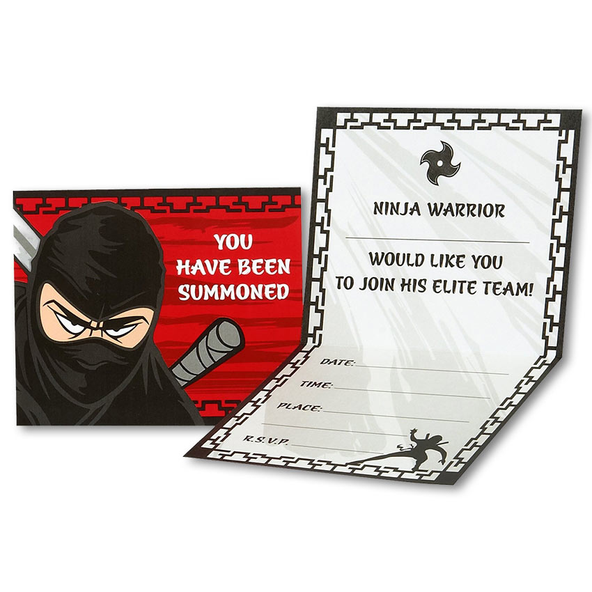 Ninja Warrior Party Invitations Ninja Warrior Postcard Ninja