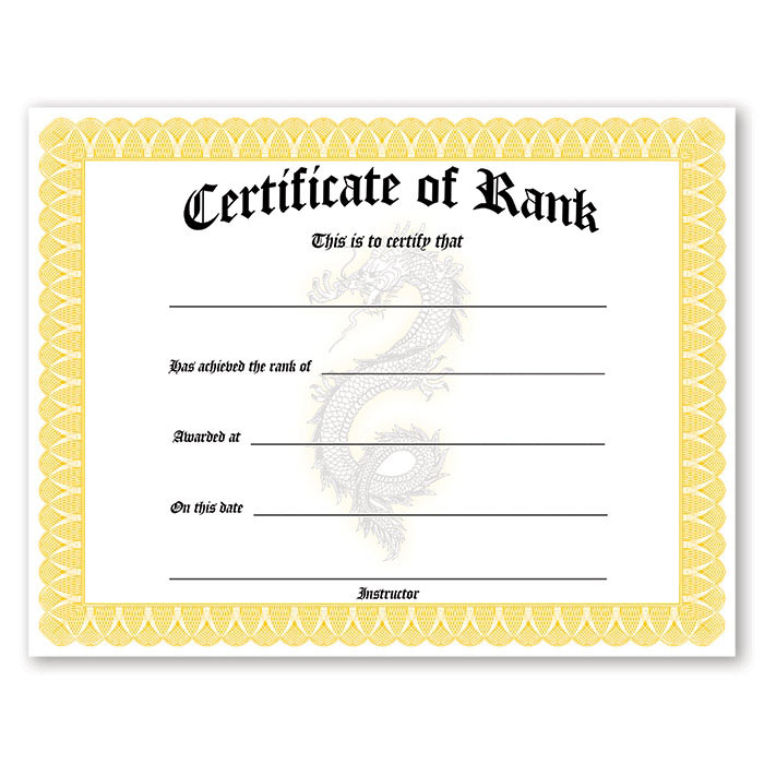 rank promotion certificates martial arts promotional certificate