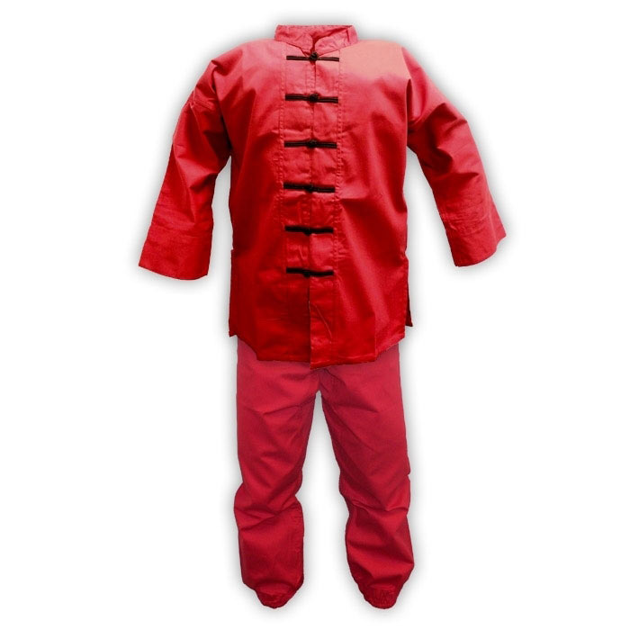 Red Kung Fu Uniform with Black Frog Buttons