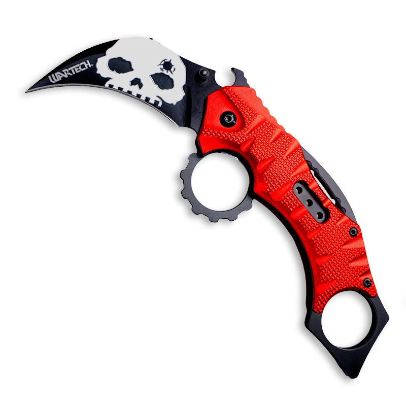 Red Skull Karambit Folding Knife
