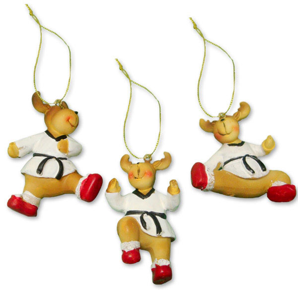 Taekwondo Reindeer Ornament Set - Taekwondo Reindeer Ornament Set - Martial Art Christmas Ornaments