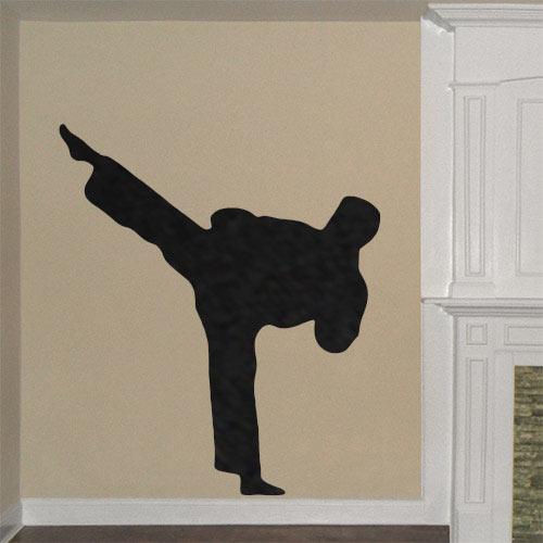 Taekwondo Sidekick Wall Decal & Taekwondo Sidekick Wall Decal - Removable TKD Wall Decal - life size ...