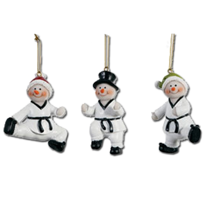 Taekwondo Snowmen Ornament Set - Taekwondo Holiday Ornaments - Taekwondo  Christmas Ornament - Taekwondo Snowmen Ornament Set - Taekwondo Holiday Ornaments