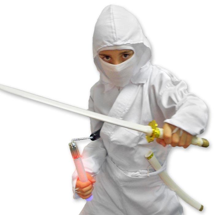 White Shadow Ninja Costume  sc 1 st  KarateMart & White Shadow Ninja Costume - Kids Storm Shadow Costume - Childrens ...
