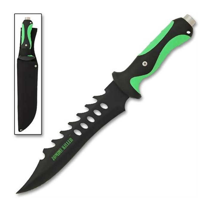 Zombie Killer Bowie Knife Rubber Grip Handled Knife
