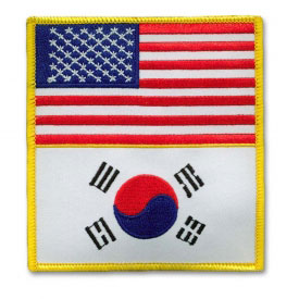 American and Korean Flag Patch