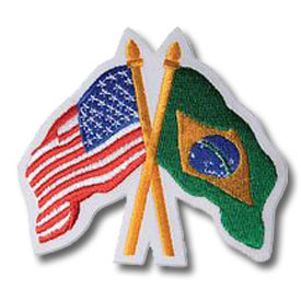 American and Brazilian Flags Patch