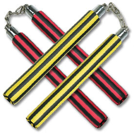 Black Striped Foam Chain Nunchaku