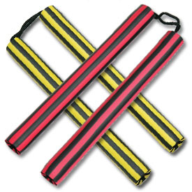 Black Striped Foam Cord Nunchaku