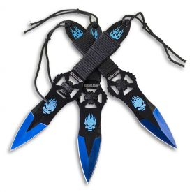 Burning Blue Skull Throwing Knives