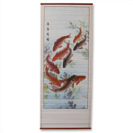 Chinese Koi Wall Scroll Painting