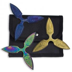 Dark Skull Multicolor Throwing Star Set