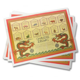 Chinese Zodiac Place Mats (12-Pack)