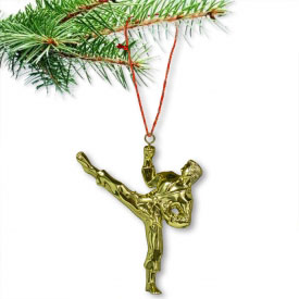 Gold Karate Christmas Ornament