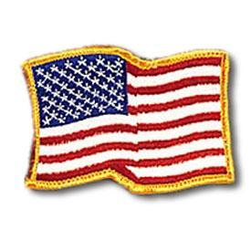 Gold Trim Waving American Flag Patch
