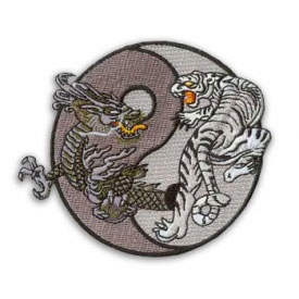 Grayscale Dragon and Tiger Yin Yang Patch