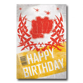 Karate Punch Birthday Postcard