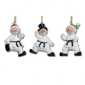 Karate Snowmen Ornament Set