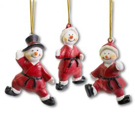 Martial Arts Snowman Ornament Set