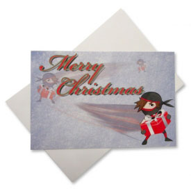 Ninja Santa Christmas Postcard Set