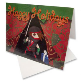 Ninja Surprise Christmas Greeting Cards (5-Pack)