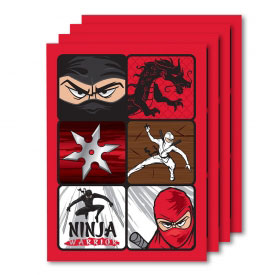 Ninja Warrior Party Stickers (4 Sheets)
