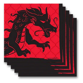 Red Dragon Beverage Napkins (20-Pack)