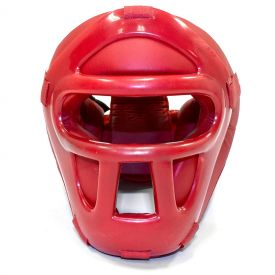 Red Vinyl Headgear With Cage