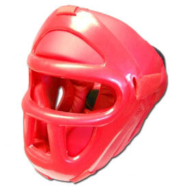 Red Economy Headgear With Cage