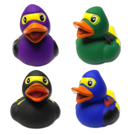 Squeaky Rubber Duck Ninjas (4-Pack)
