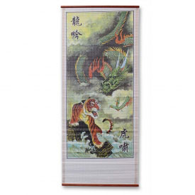 Tiger and Dragon Wall Scroll Painting