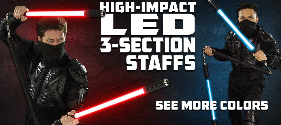 High-Impact LED 3-Section Staff in Six Colors